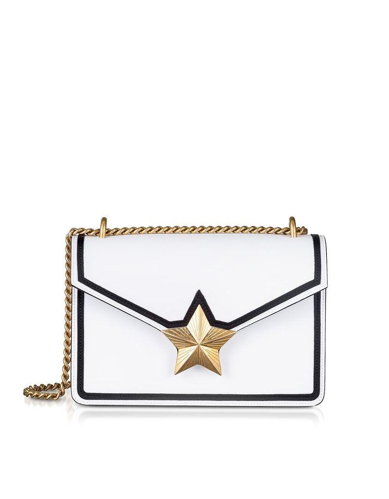 Les Jeunes Etoiles Designer Handbags, Optic White & Black Leather New Vega Trim Shoulder Bag