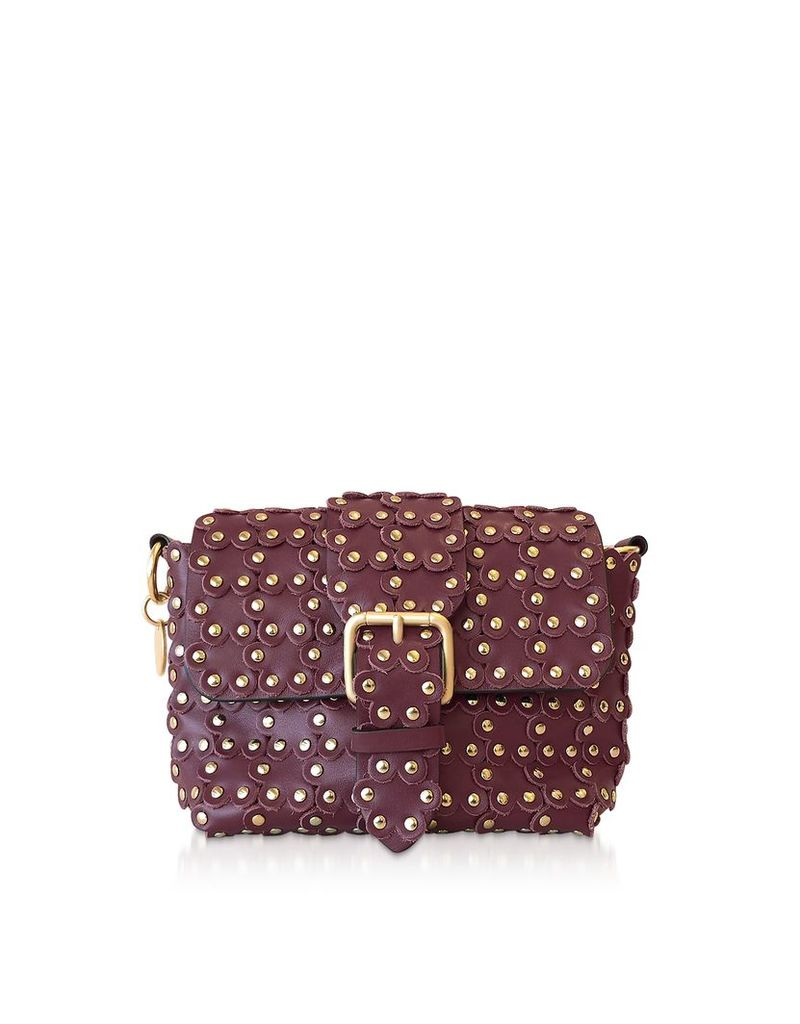 RED Valentino Designer Handbags, Flower Puzzle Dark Red Leather Shoulder Bag