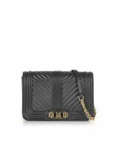 Rebecca Minkoff Designer Handbags, Black Nappa Leather Small Love Crossbody