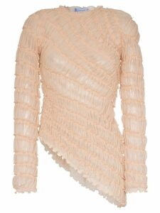 Mugler long-sleeved ruffle detail asymmetric blouse - Neutrals