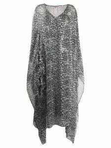 Ermanno Scervino sheer draped leopard print dress - Black
