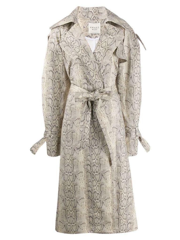 A.W.A.K.E. Mode Dana python trench coat - Neutrals
