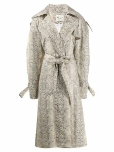 A.W.A.K.E. Mode Dana python trench coat - Neutrals