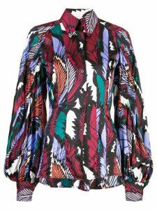 Carolina Herrera feather print shirt - Multicolour