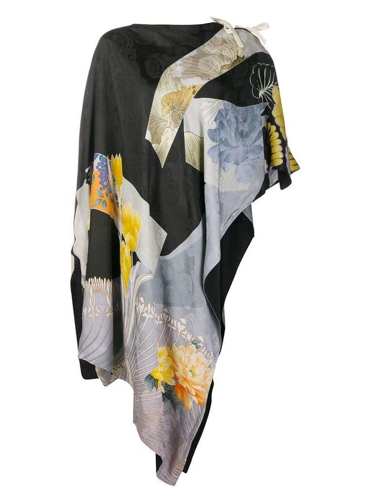 Etro geometric floral poncho top - Black