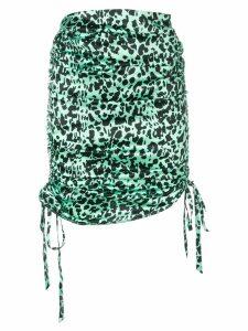 Laneus leopard print drawstring skirt - Green