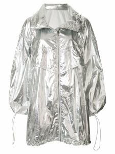 Juun.J oversized hooded raincoat - Silver