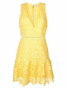 Alice+Olivia ruffle hem lace dress - Yellow