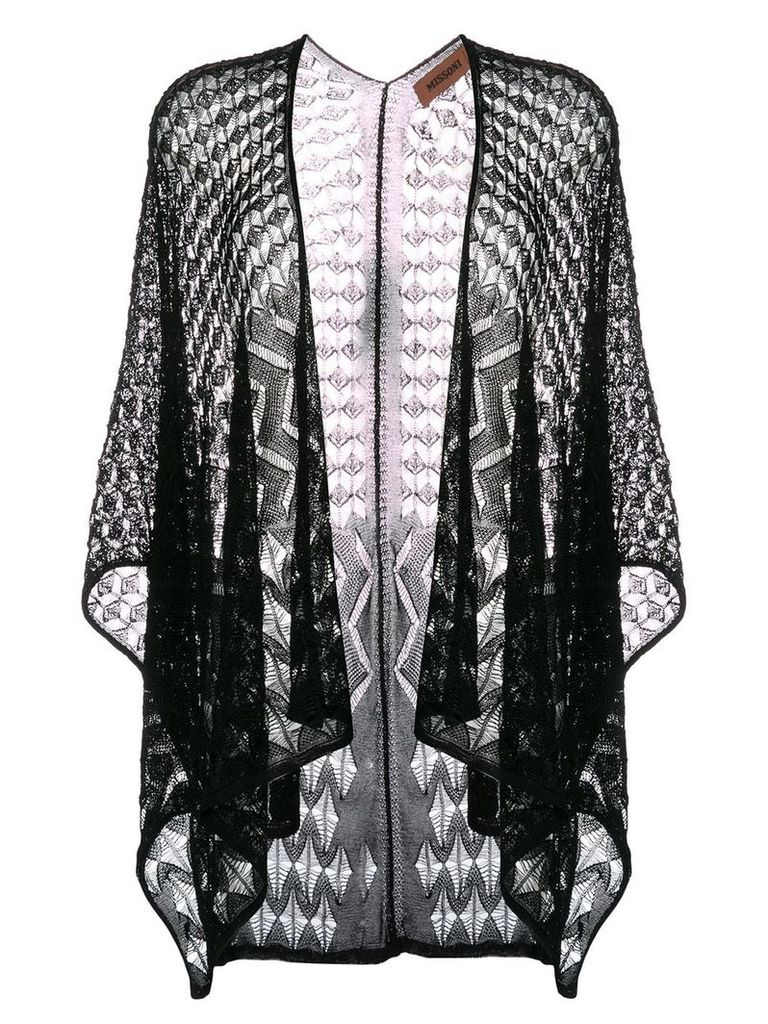 Missoni embroidered poncho - Black