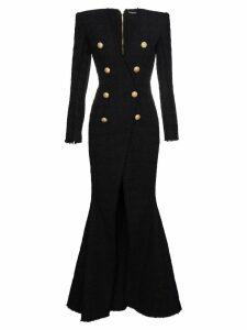Balmain V-neck long sleeve slit gown - Black