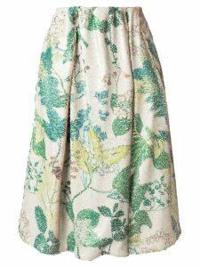 Agnona sequin floral pattern skirt - White
