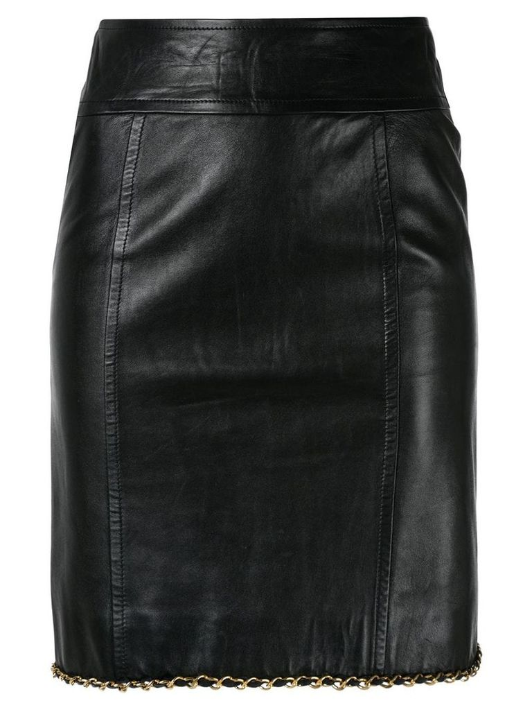 CHANEL PRE-OWNED CHANEL CC Logos Chain Skirt - Black