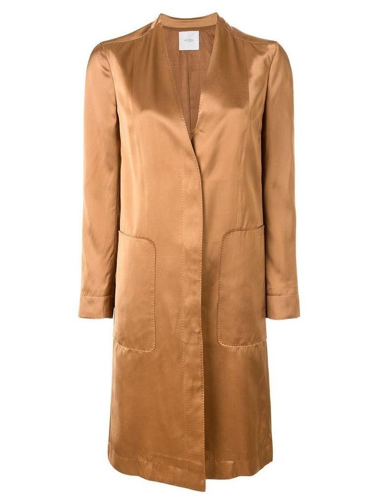 Agnona concealed fastening midi coat - Brown