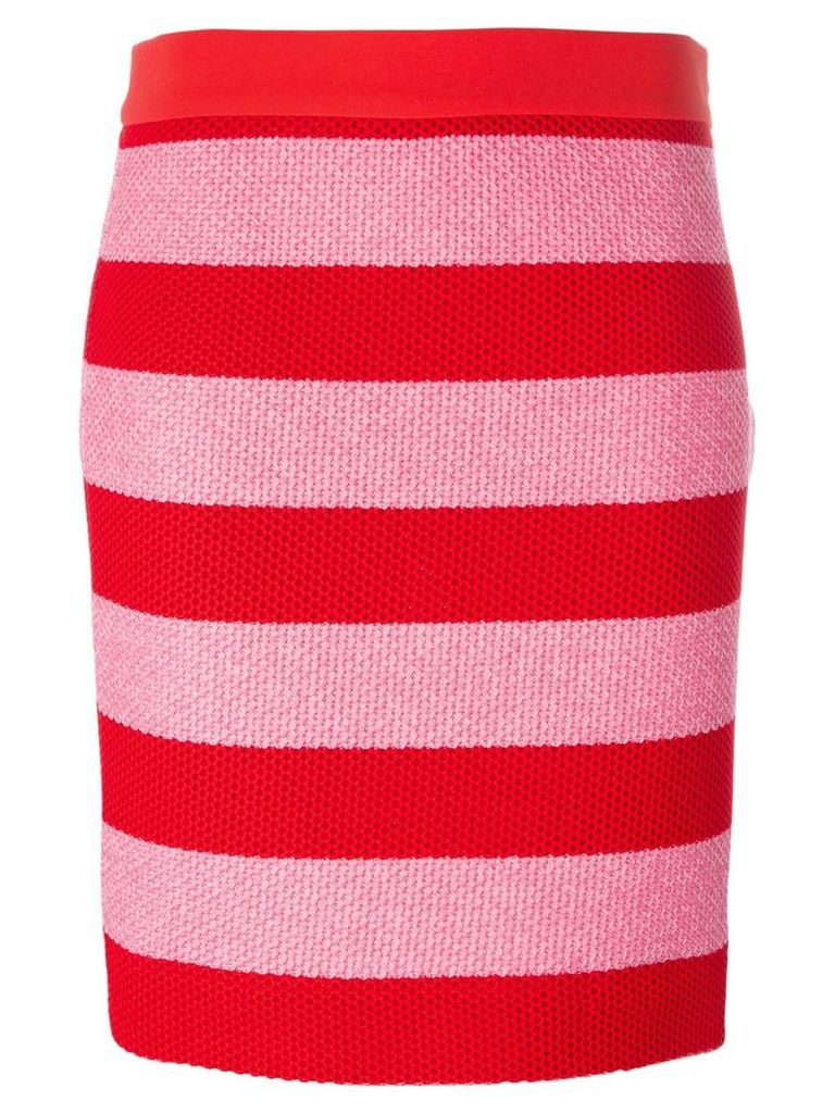 Boutique Moschino striped fitted skirt - Red