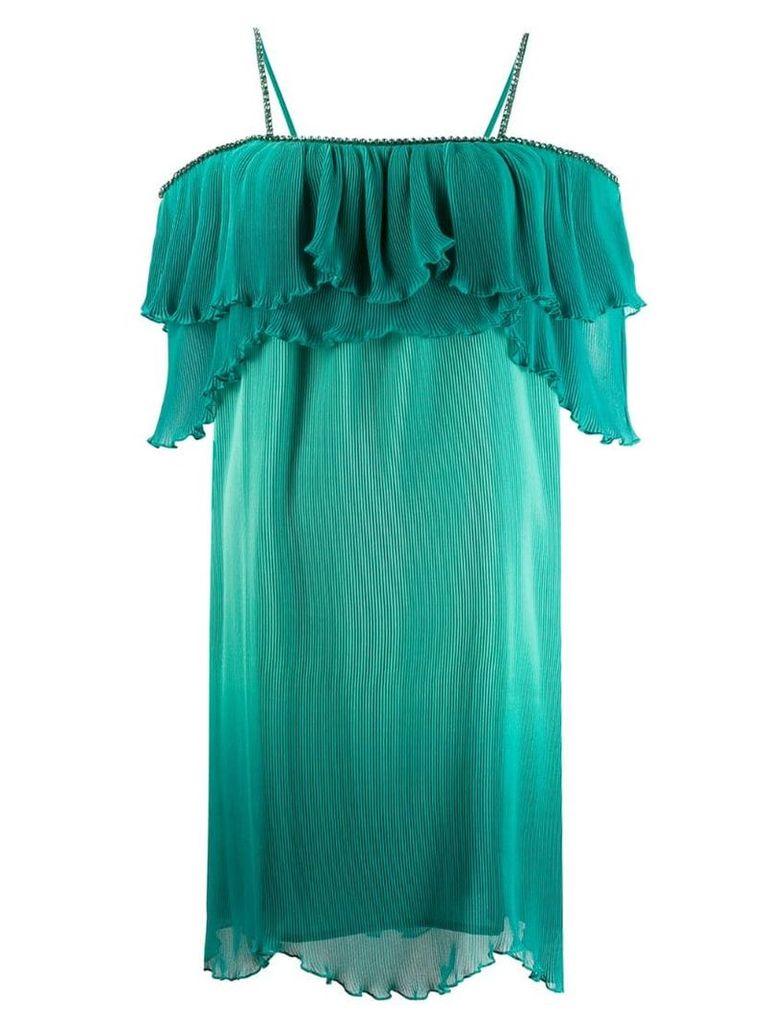 Just Cavalli frill trim plisse dress - Green