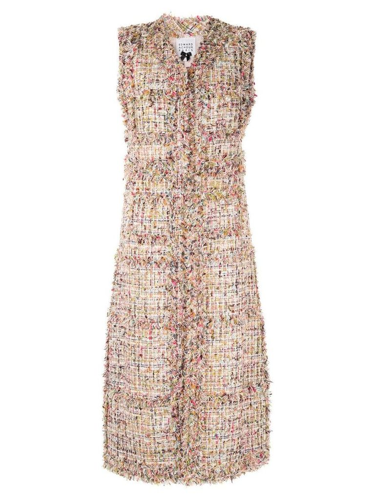 Edward Achour Paris tweed gilet coat - Multicolour