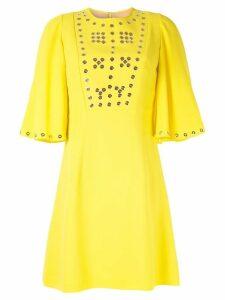 Andrew Gn eyelet detailed mini dress - Yellow