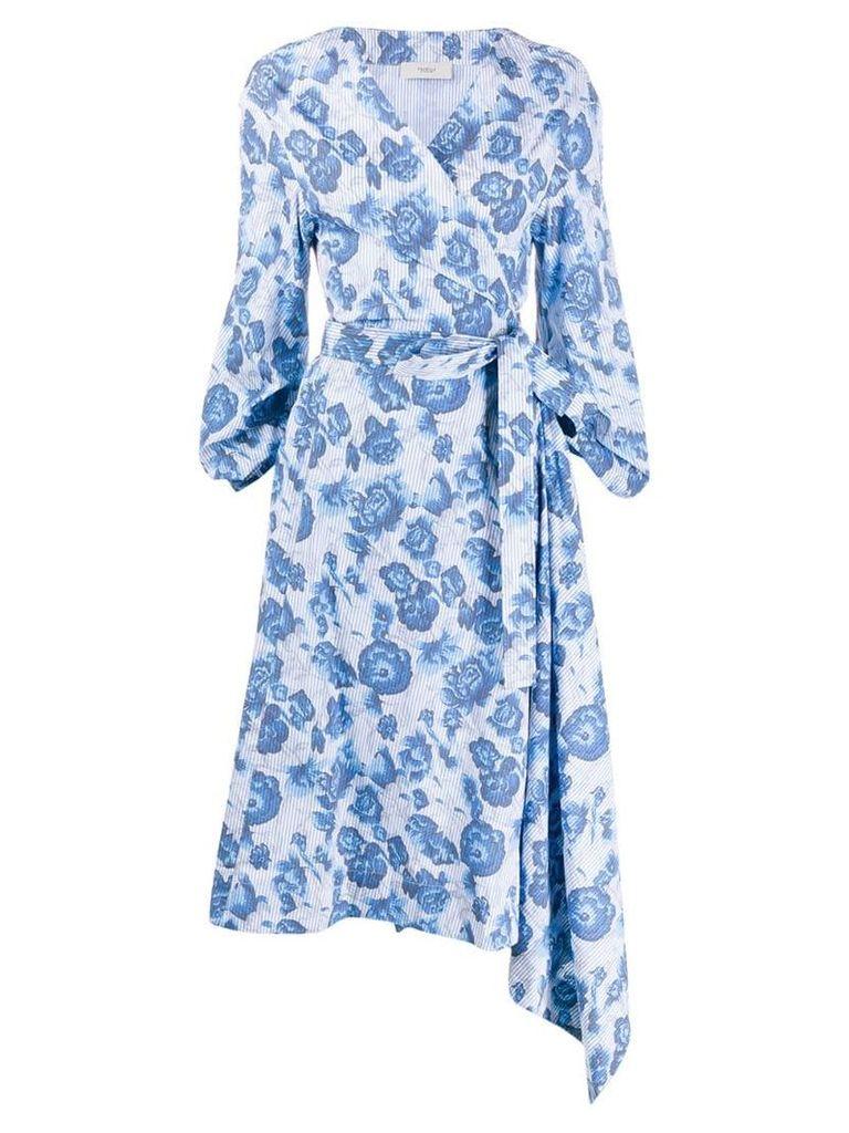 Pringle Of Scotland floral wrap dress - Blue