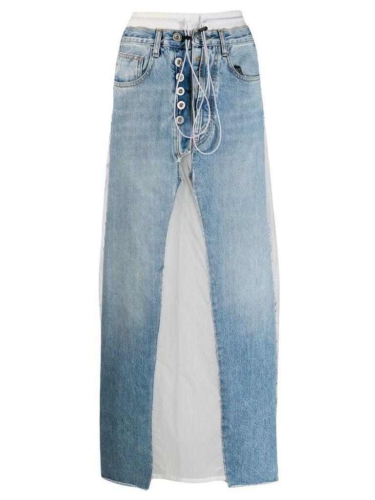 Unravel Project contrast patch jean skirt - Blue