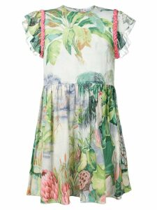 Red Valentino floral print mini dress with braided shoulders - Grey