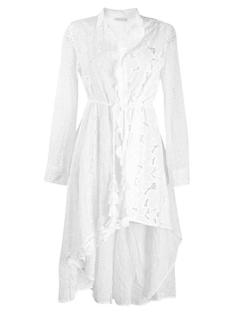 Anjuna asymmetric broderie anglaise shirt dress - White