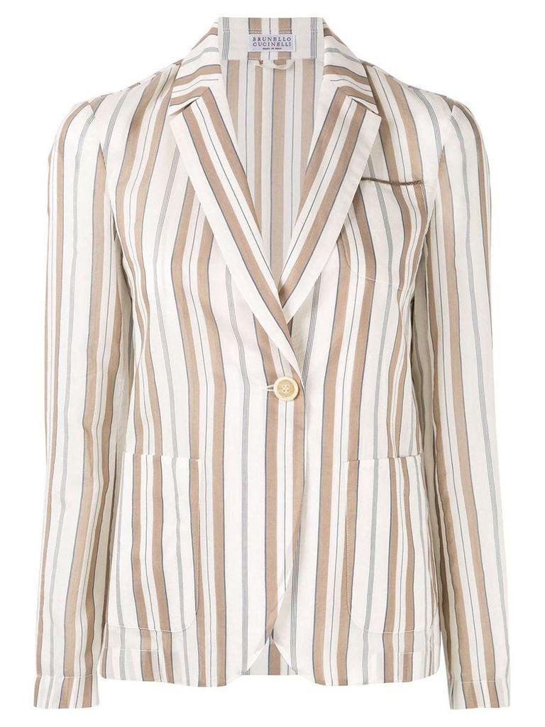 Brunello Cucinelli striped blazer - White