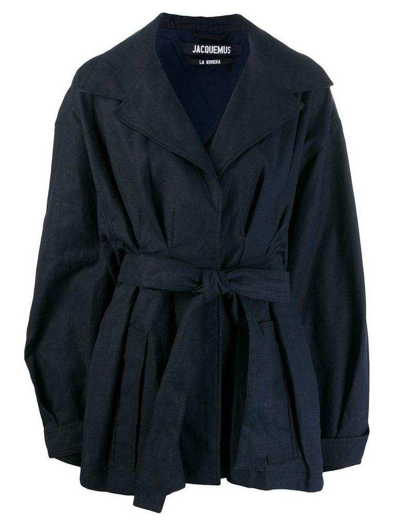 Jacquemus belted oversized coat - Blue