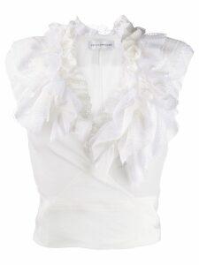Faith Connexion frilled crop top - White