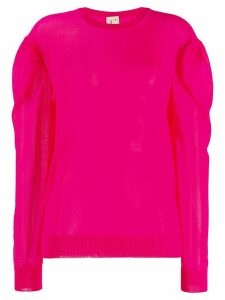 L'Autre Chose gathered sleeve knitted top - Pink