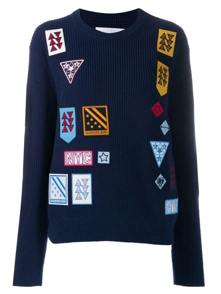 Calvin Klein Jeans logo patch sweater - Blue