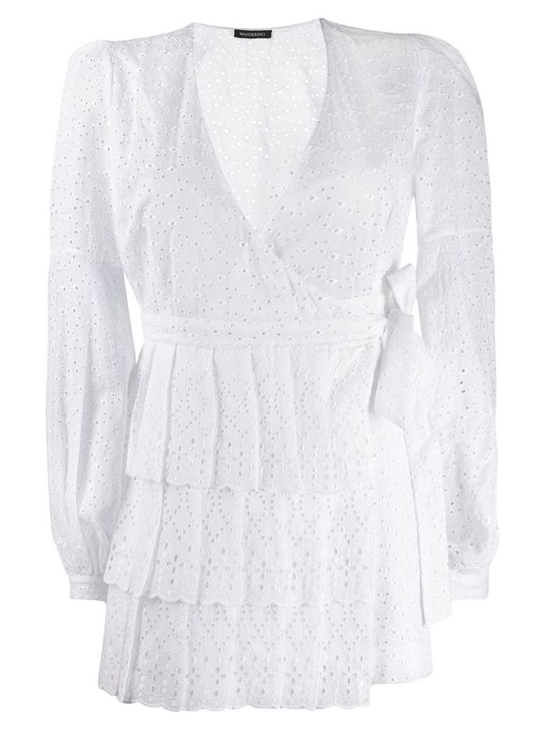 Wandering broderie anglaise wrap dress - White