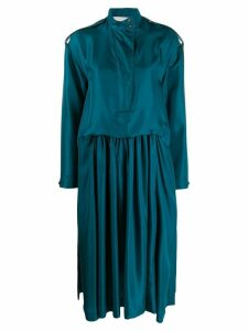 Cédric Charlier high neck midi dress - Blue