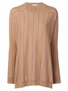 Stella McCartney striped high-low hem jumper - Neutrals