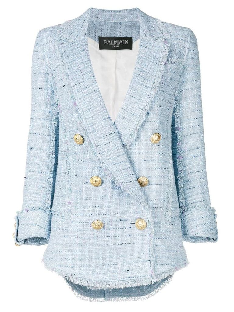Balmain double breasted bouclé blazer - Blue