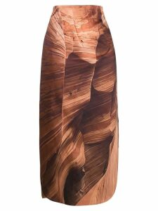 A.W.A.K.E. Mode Canyon print skirt - Brown
