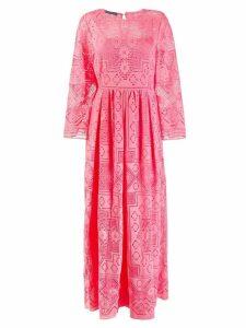 Alberta Ferretti macrame embroidered maxi dress - Pink