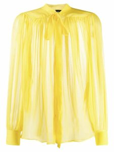 Rochas tie front sheer blouse - Yellow