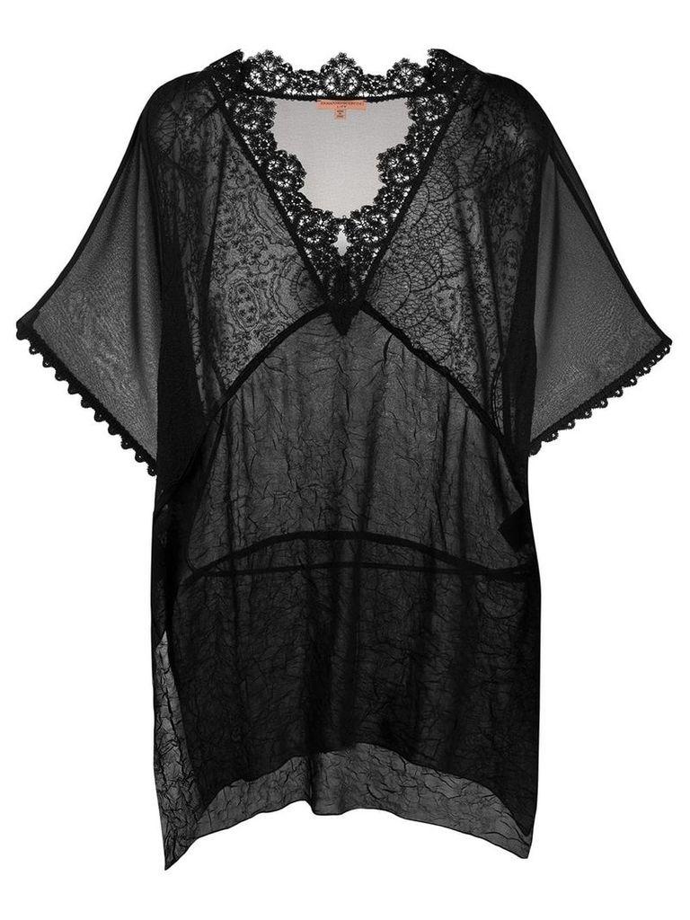 Ermanno Scervino sheer lace detail blouse - Black