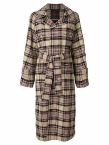 Caban plaid trench coat - Multicolour