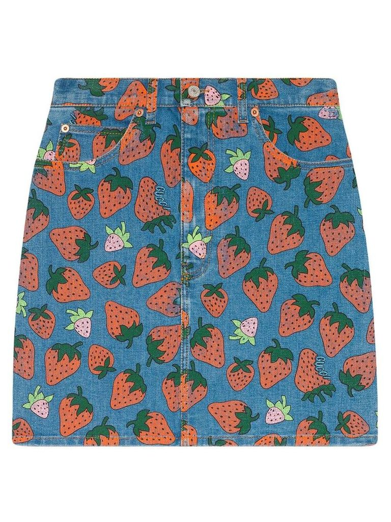 Gucci Denim skirt with Gucci Strawberry print - Blue
