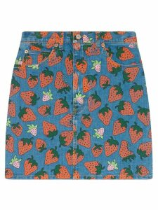 Gucci Denim skirt with Gucci Strawberry print - Blue