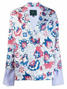 Jejia floral sleeve detail blazer - White