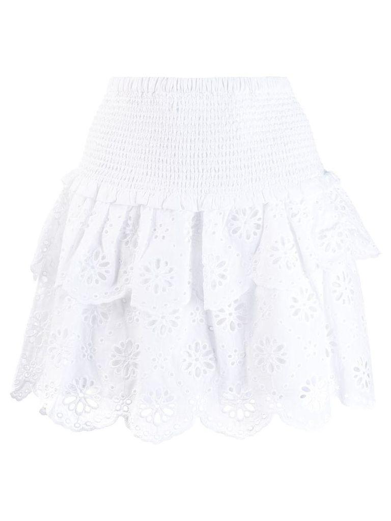 Michael Michael Kors ruffled broderie anglaise skirt - White