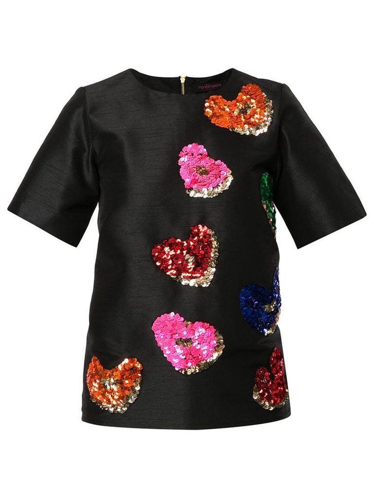 Manish Arora sequin-embellished heart T-shirt - Black