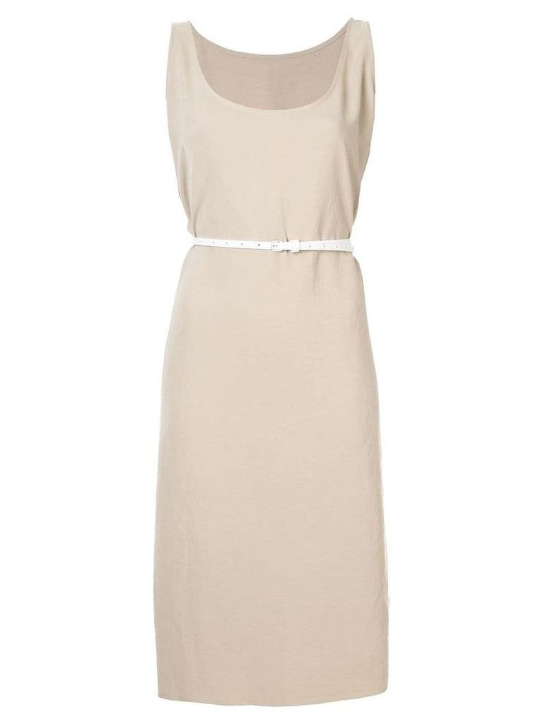 Jean Paul Knott belted sleeveless dress - Neutrals