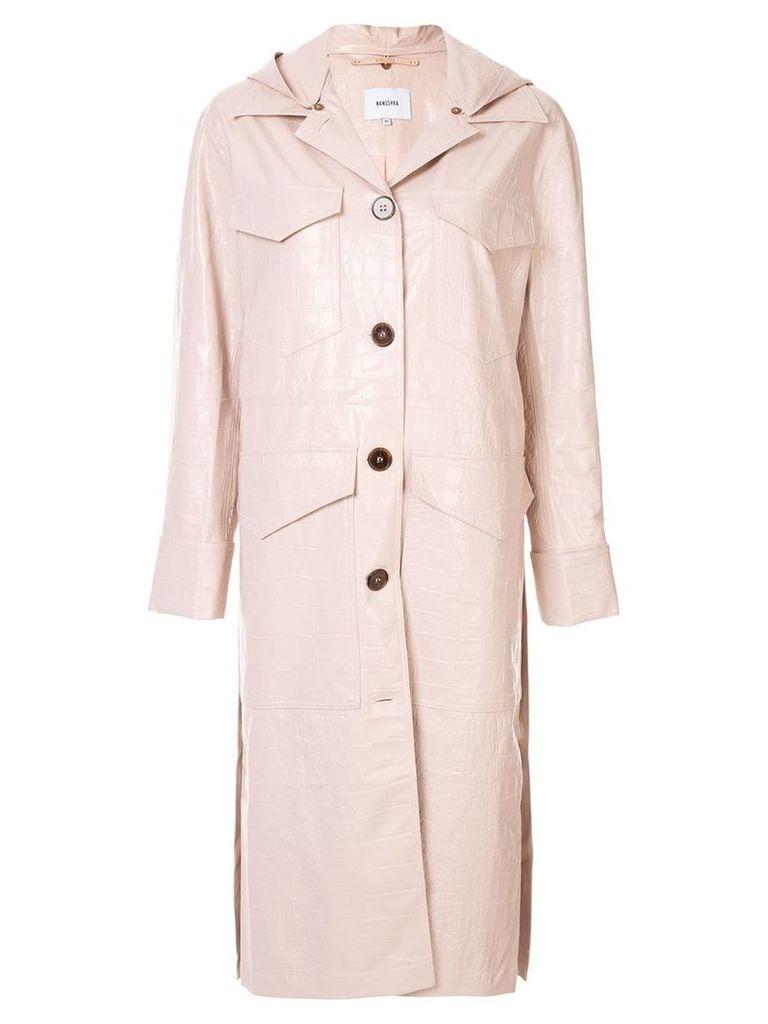 Nanushka hooded duster coat - Pink