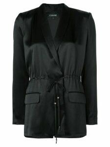 Cushnie satin drawstring blazer - Black