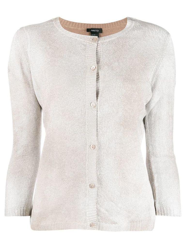 Avant Toi cropped sleeve cardigan - Neutrals