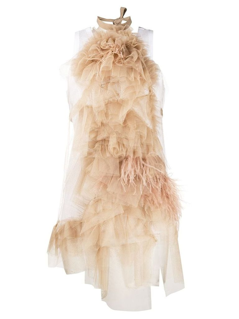 Nº21 front layered top with ostrich feather - Neutrals