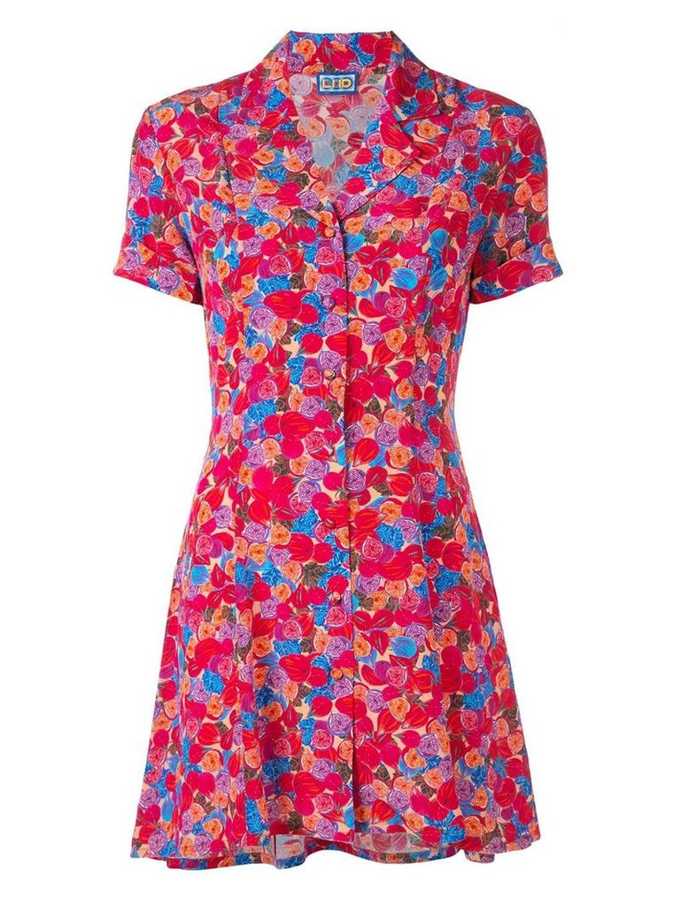 Lhd floral print mini shirt dress - Pink